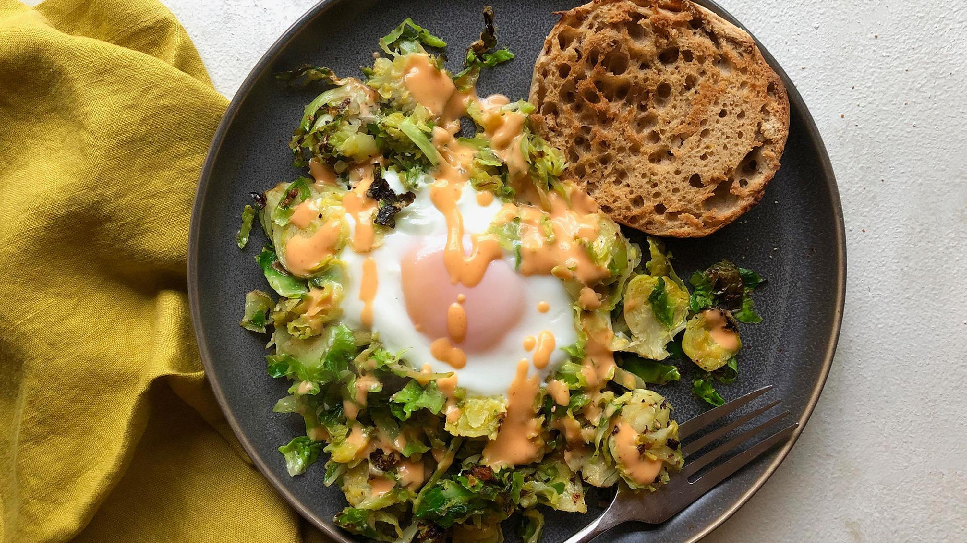 Cheesy Egg Nests with Brussels Sprouts LIVE