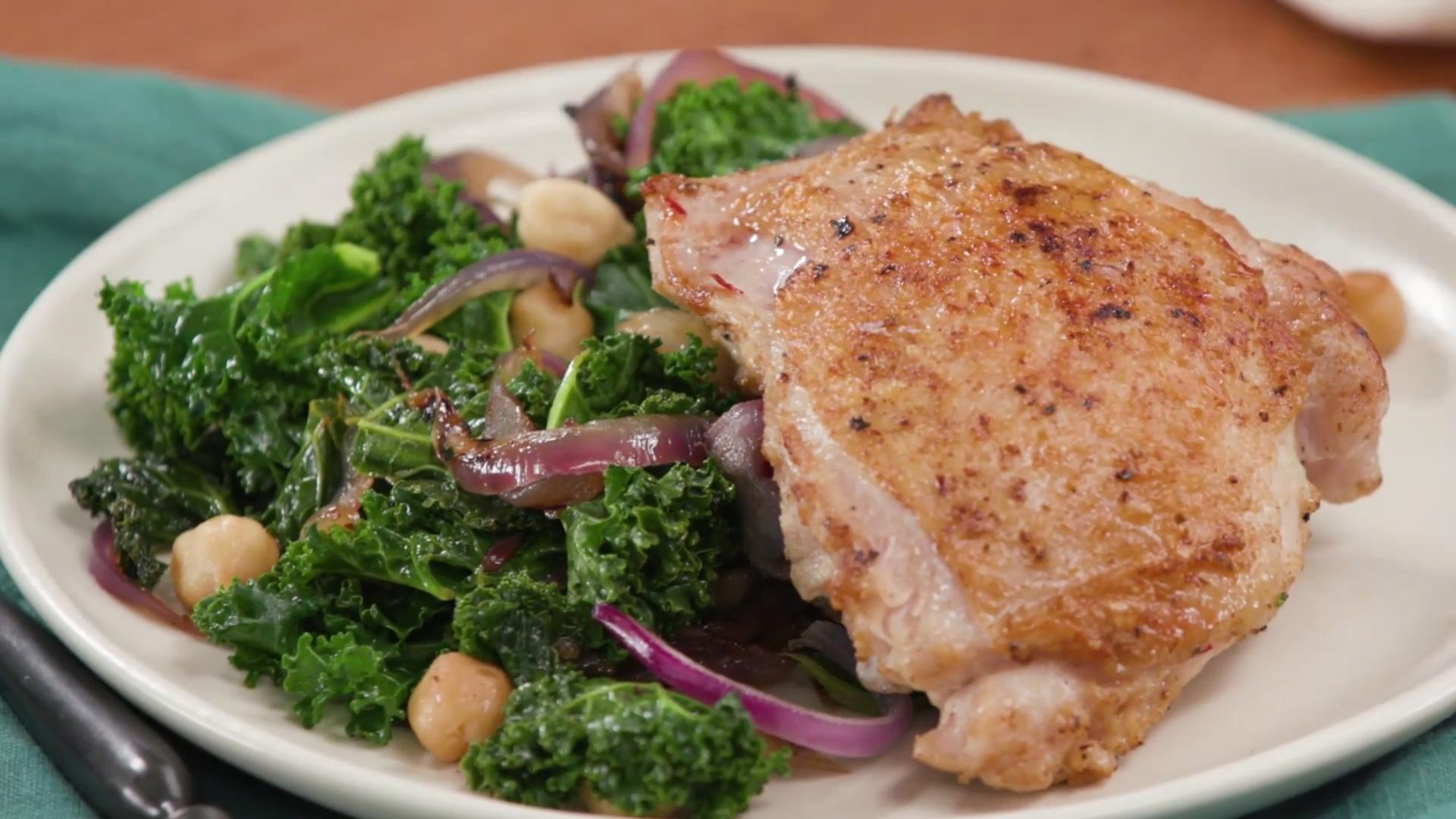 How to Make Healthy Chicken Thighs with Kale