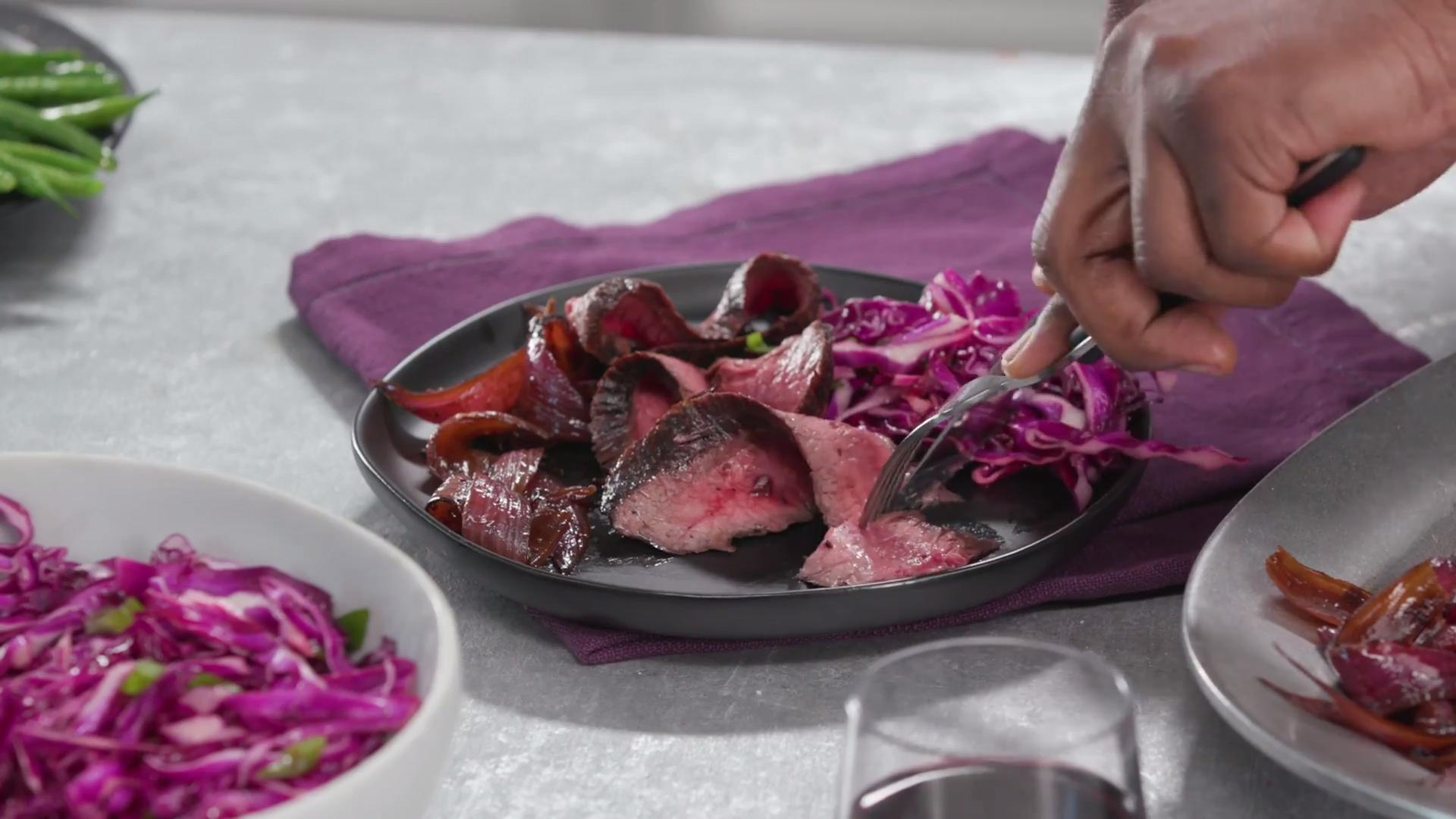 How to Make Red Wine Marinated Steak with Balsamic Onions and Slaw