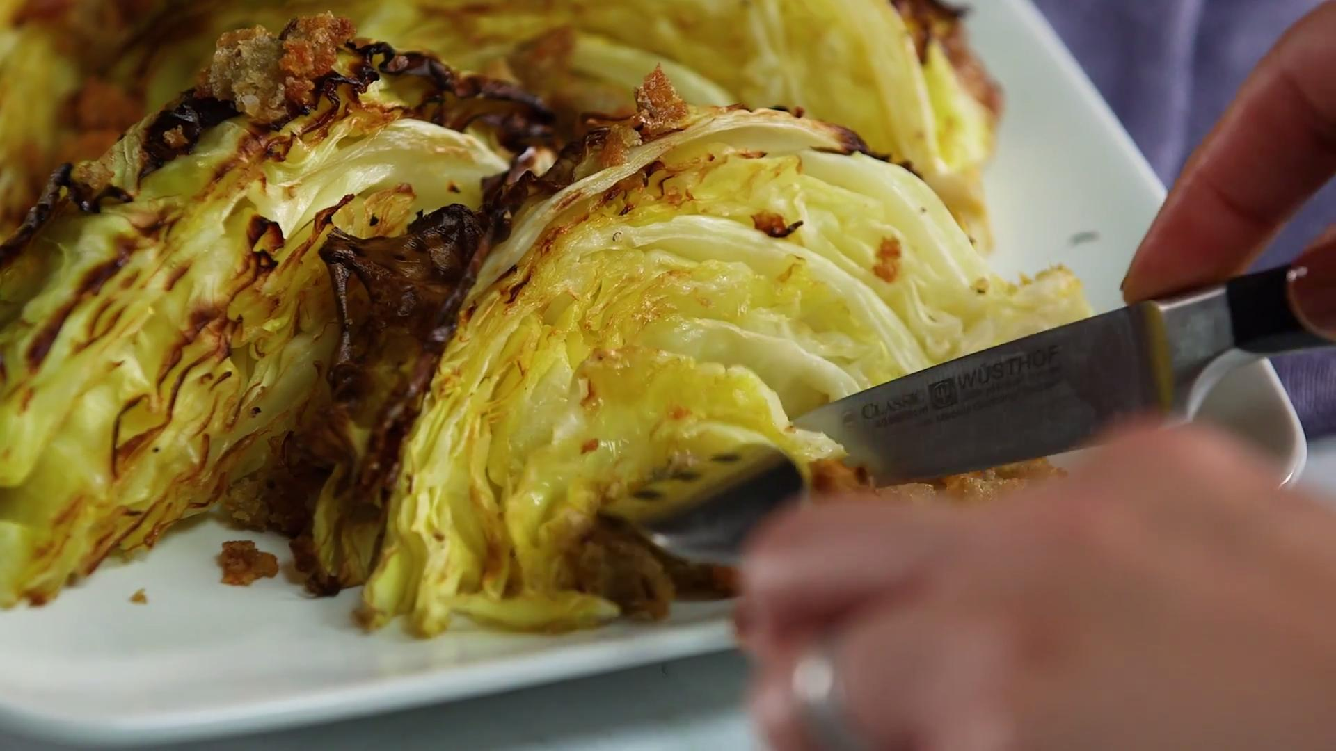 How to Make Roasted Cabbage Wedges with Blue Cheese and Breadcrumbs