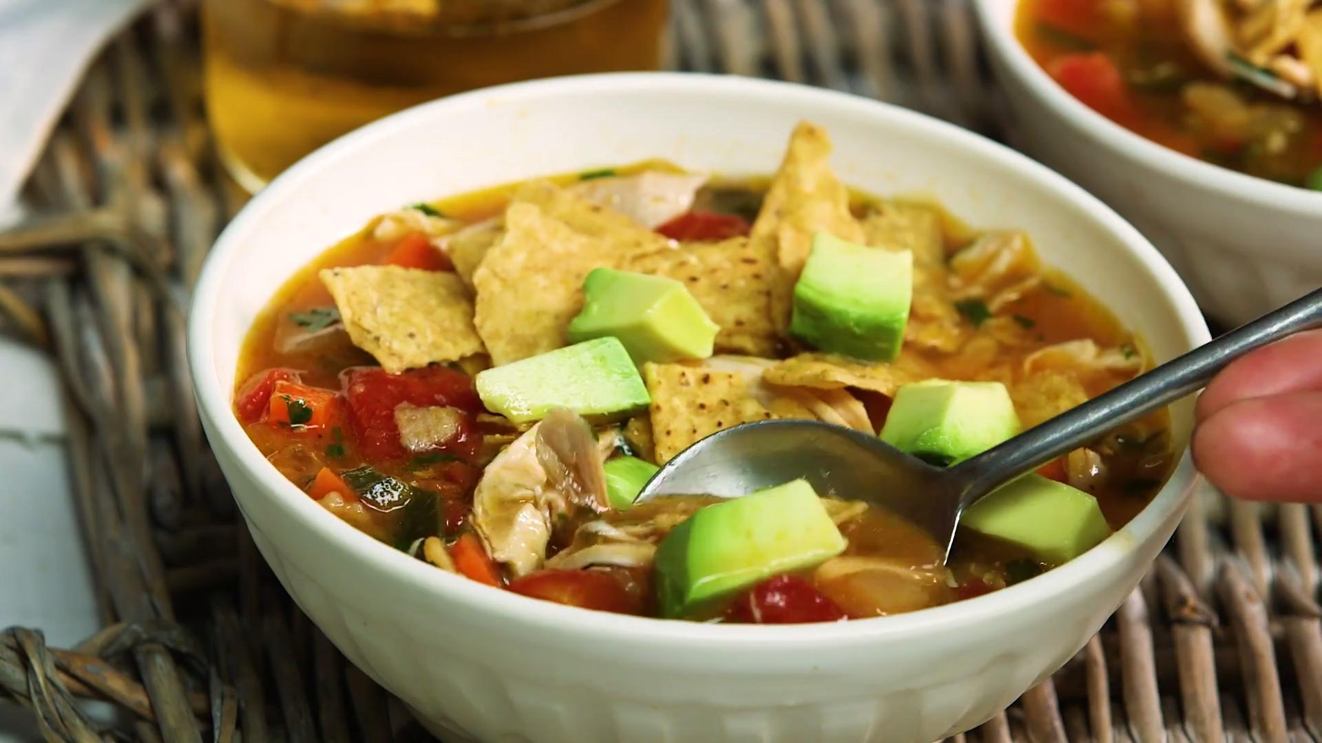 How to Make Chicken Poblano Tortilla Soup