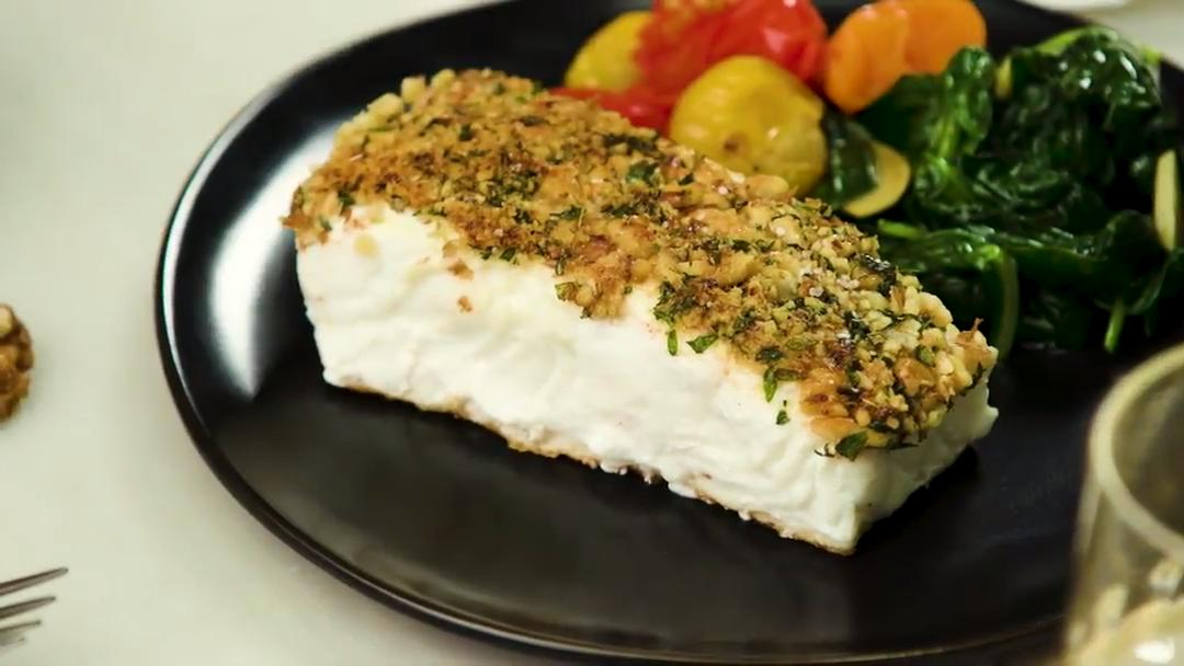 How to Make Walnut Dijon Crusted Halibut