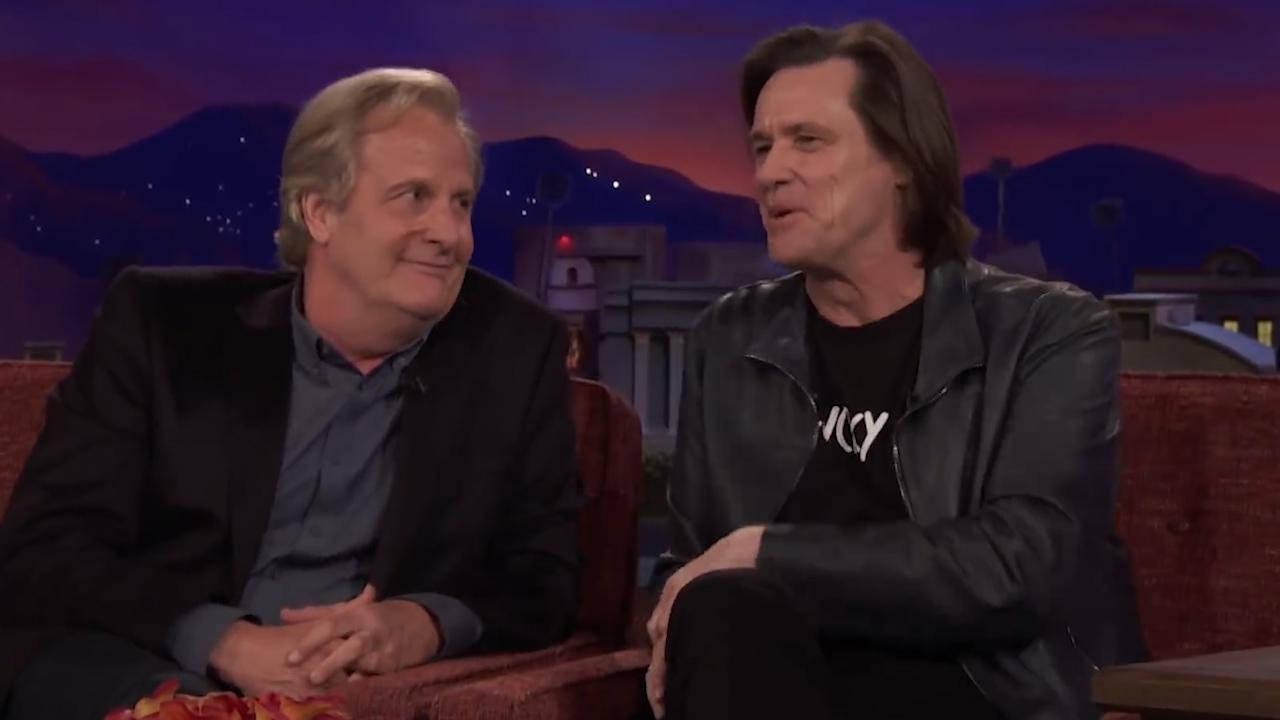 Dumb and Dumber star Jim Carrey crashes Jeff Daniels' interview on Conan