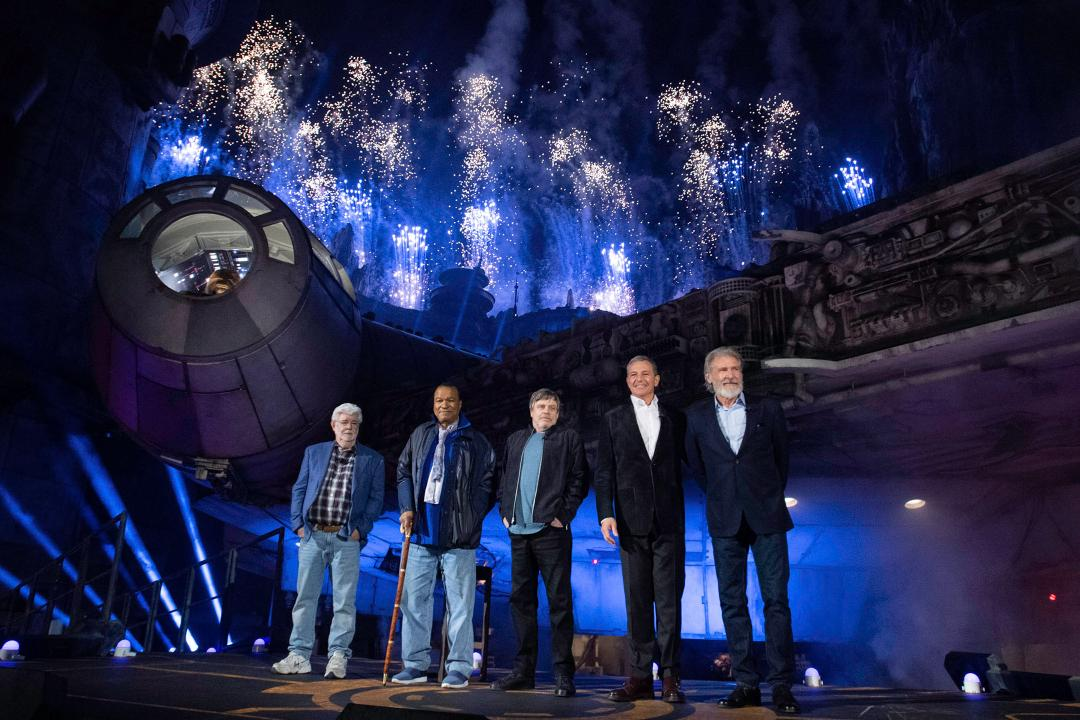 Watch Harrison Ford, Billy Dee Williams, Mark Hamill, and George Lucas reunite at Star Wars: Galaxy's Edge