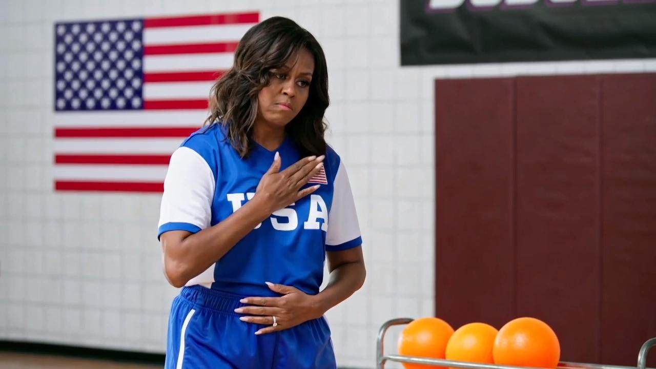 Watch Michelle Obama hype up her dodgeball team to face Benedict Cumberbatch and Harry Styles