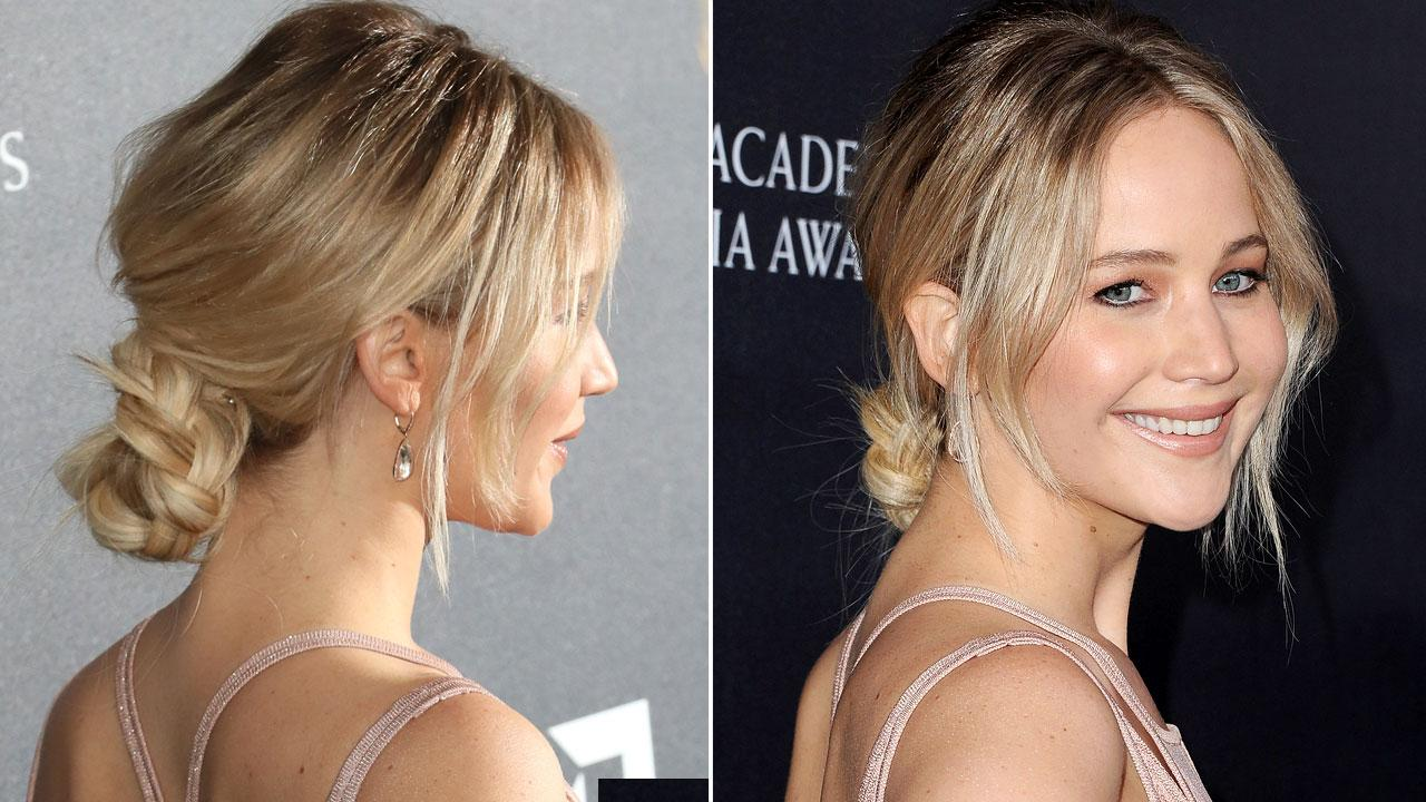 WATCH: How to Recreate Jennifer Lawrence's Chic (and Easy!) Braided Chignon Updo