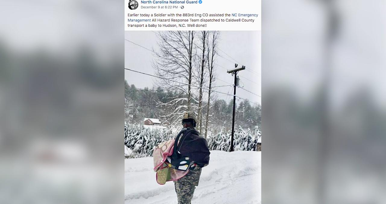 A National Hero! Guardsman Carries Stranded Baby Through the Snow to Safety