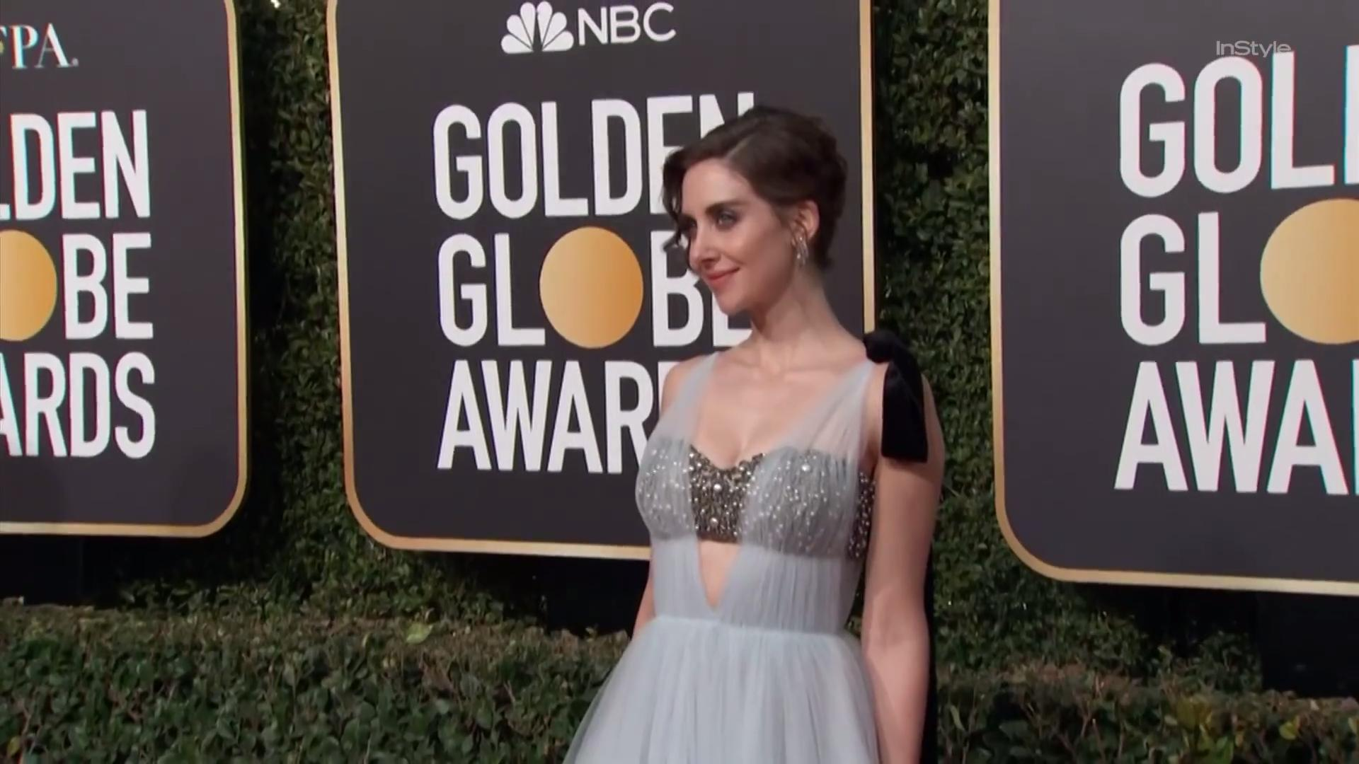Alison Brie Breaks Out a Bedazzled Vera Wang Bra for the 2019 Golden Globes Red Carpet