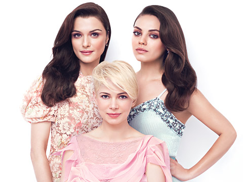 At the Cover Shoot with Rachel Weisz, Michelle Williams, and Mila Kunis
