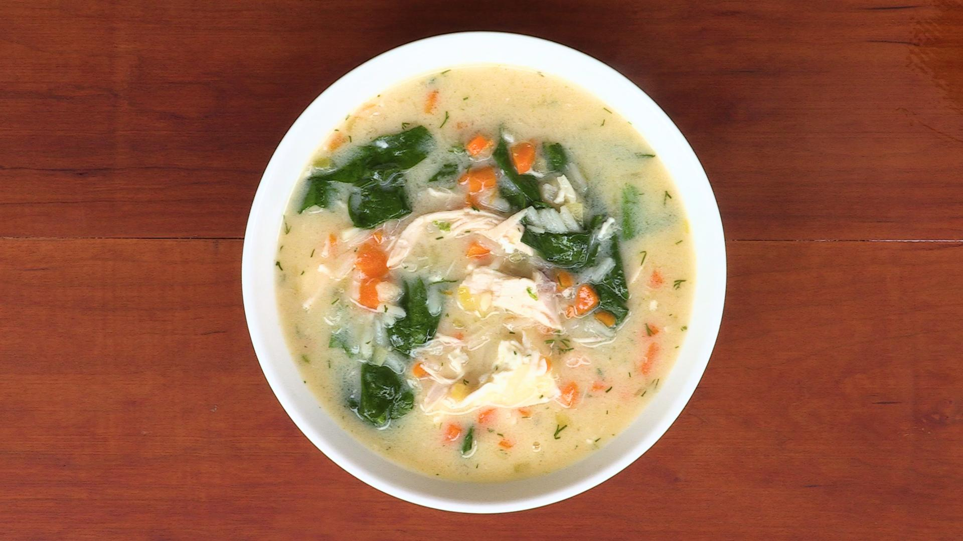 Lemony Chicken and Spinach Soup