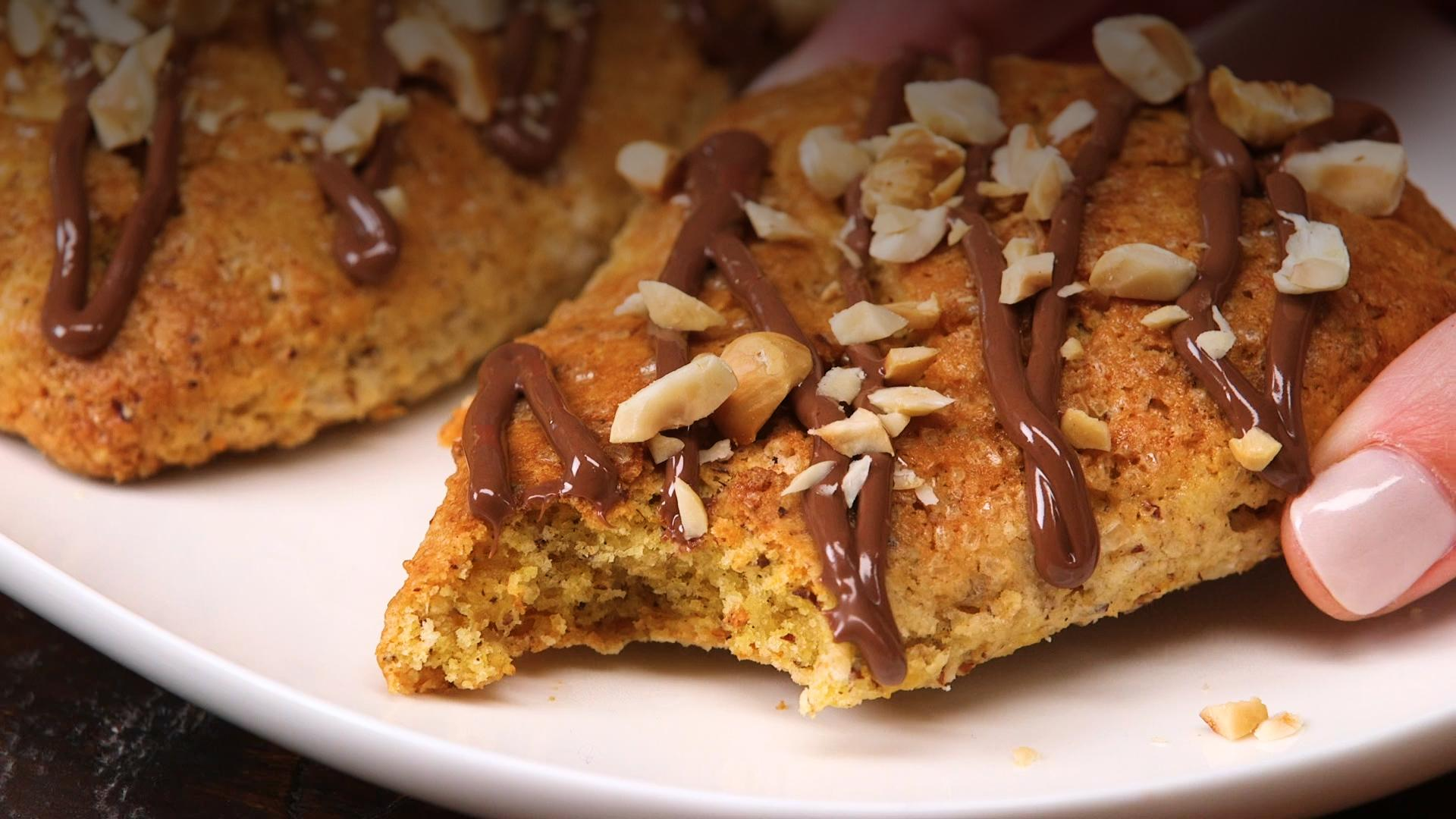 Sweet Potato-Hazelnut Scones with Nutella Glaze