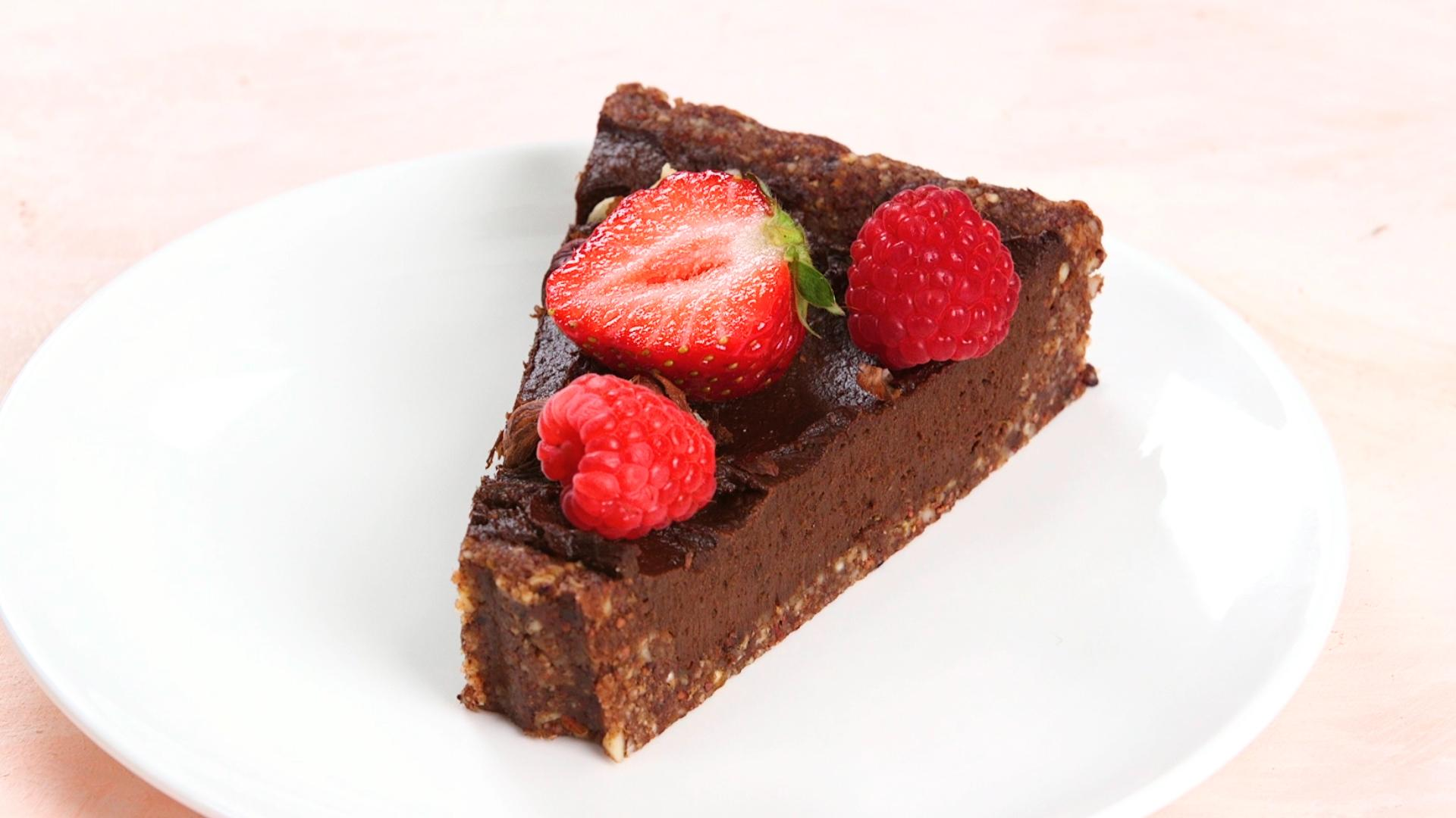 Vegan Chocolate-Hazelnut Tart with Fresh Berries