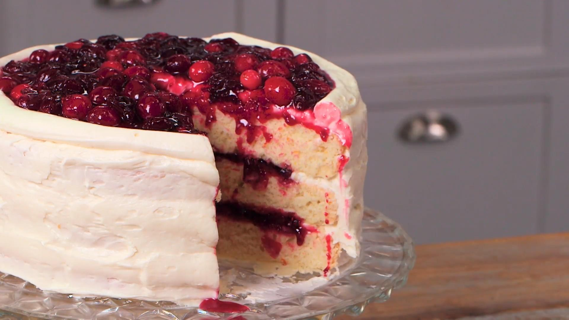 White Cake with Cranberry Filling and Orange Buttercream