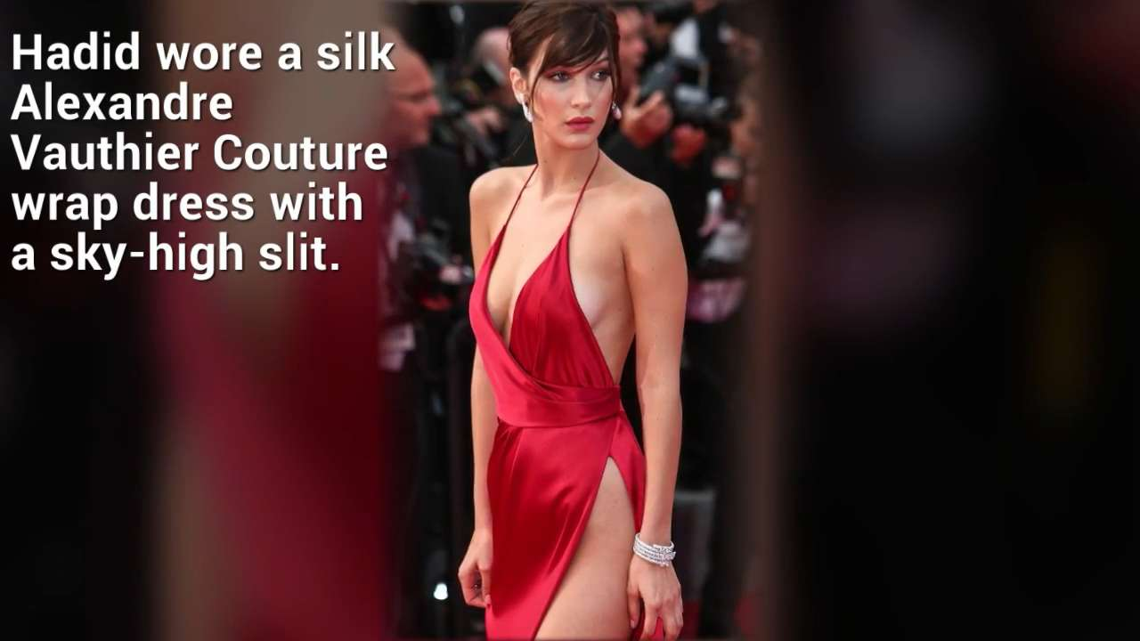 See Bella Hadid S Red Hot Dress With A Sky High Slit From