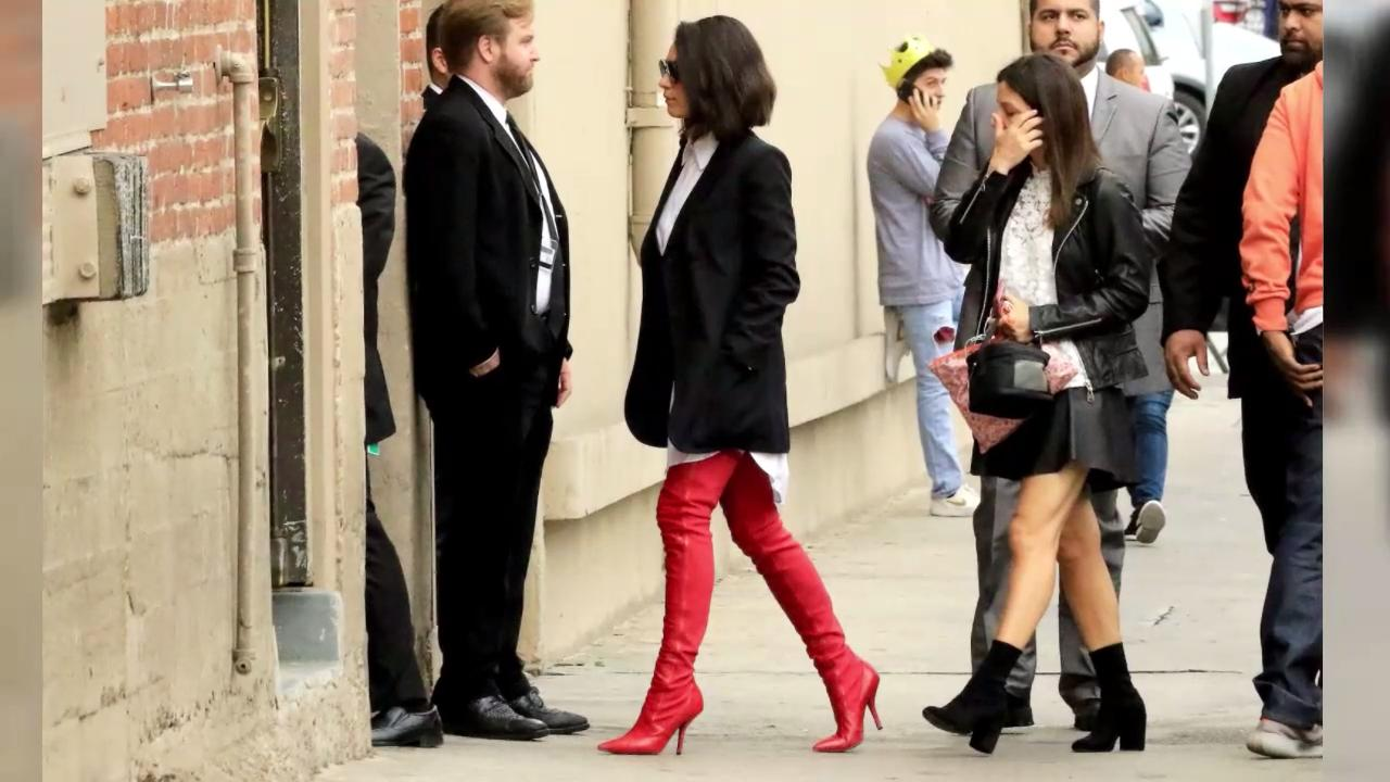 f5089c9fc72 Mila Kunis Wore Red Hot Fendi Leather Boots