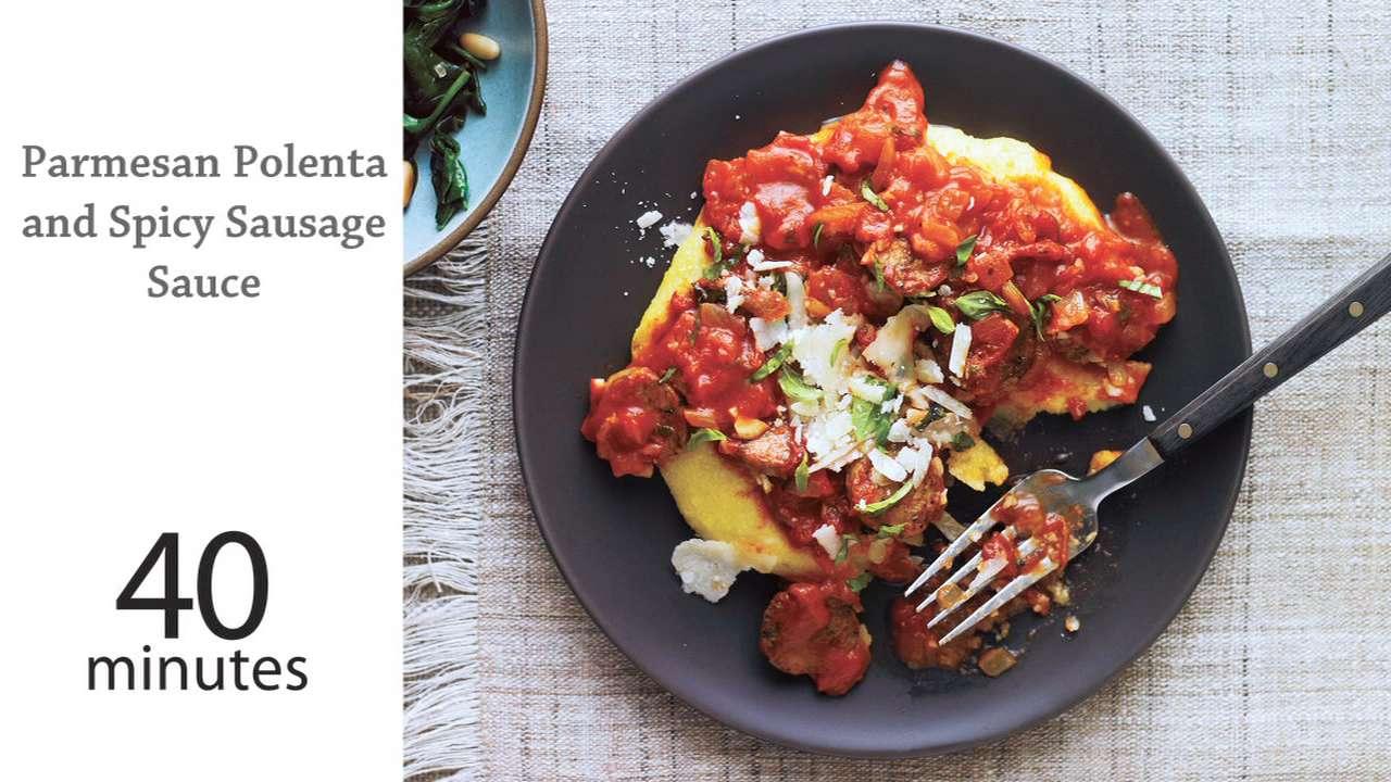 soft polenta with spicy tomato sauce