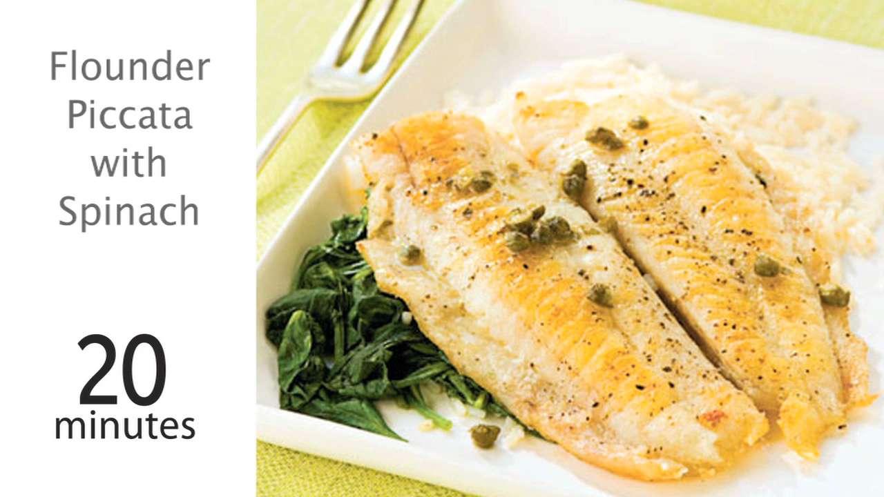 Flounder Piccata with Spinach Recipe | MyRecipes