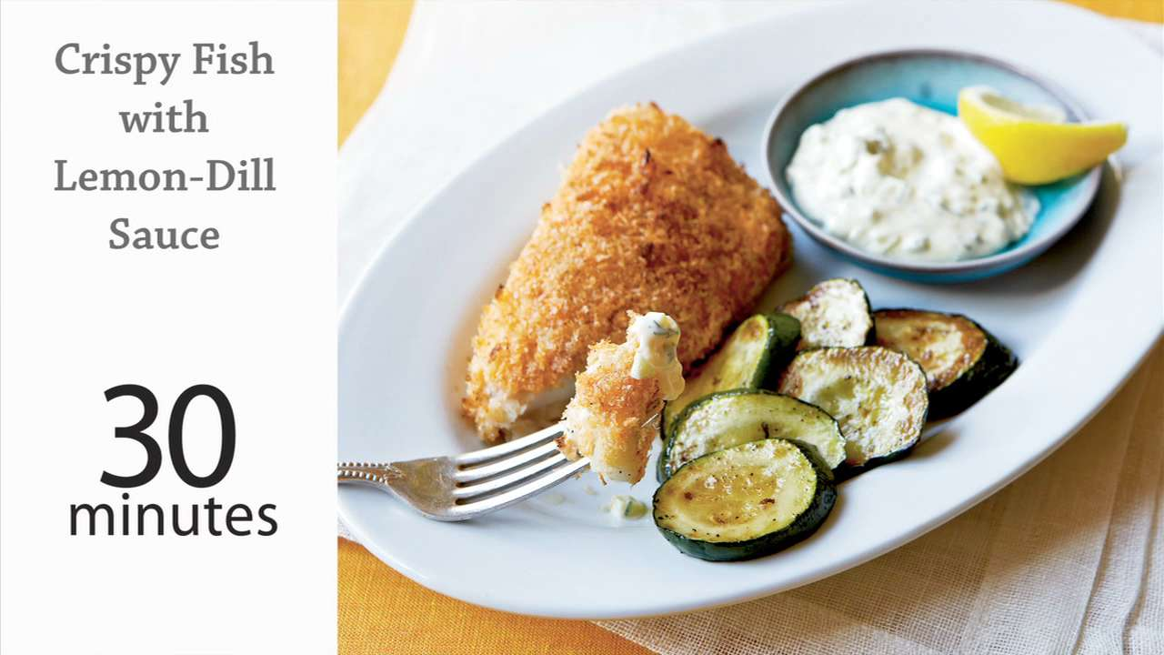 How to cook crispy fish with lemon dill sauce myrecipes for How to make breaded fish