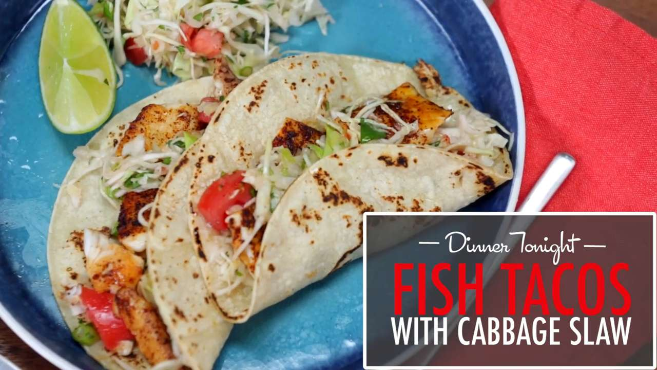 How to make fish tacos with cabbage slaw video myrecipes for Make fish tacos